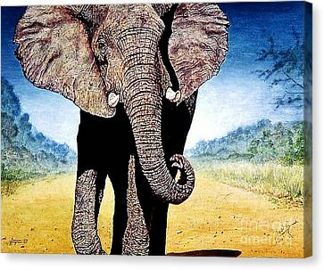 Canvas Print featuring the painting Mighty Elephant by Hartmut Jager