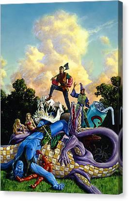 Mighty Hero Canvas Print by Richard Hescox