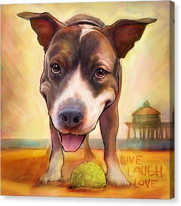 Pitted Canvas Print - Live. Laugh. Love. by Sean ODaniels