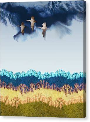 Flock Of Geese Canvas Print - Migration by Varpu Kronholm