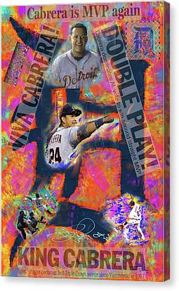 Miguel Cabrera Back To Back Canvas Print by Donald Pavlica