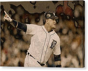 Miguel Cabrera Detroit Tigers Painting Canvas Print by Design Turnpike