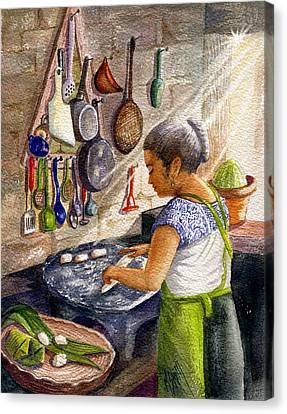 Mika, The Tamale Maker Canvas Print by Marilyn Smith