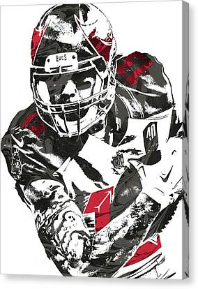 Canvas Print featuring the mixed media Mike Evans Tampa Bay Buccaneers Pixel Art by Joe Hamilton