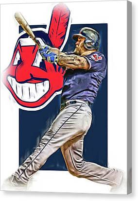 Mike Napoli Cleveland Indians Oil Art 2 Canvas Print