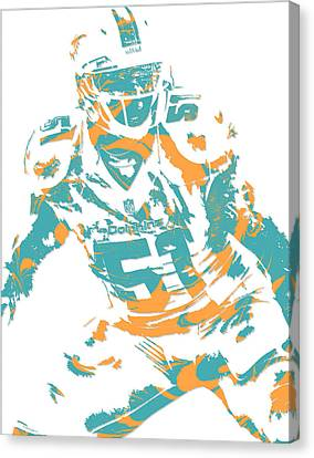 Dolphin Canvas Print - Mike Pouncey Miami Dolphins Pixel Art 1 by Joe Hamilton