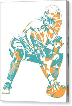 Dolphin Canvas Print - Mike Pouncey Miami Dolphins Pixel Art 2 by Joe Hamilton