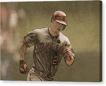 Mike Trout Anaheim Angels Painting Canvas Print by Design Turnpike