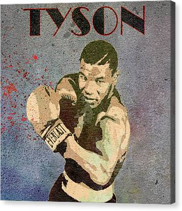 Boxer Canvas Print - Mike Tyson Concrete Grunge by Dan Sproul