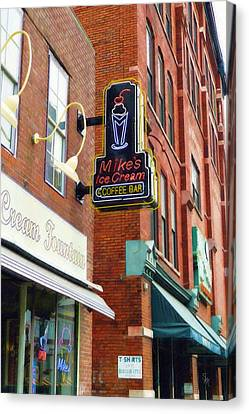 Canvas Print featuring the painting Mike's Ice Cream And Coffee Bar by Sandy MacGowan