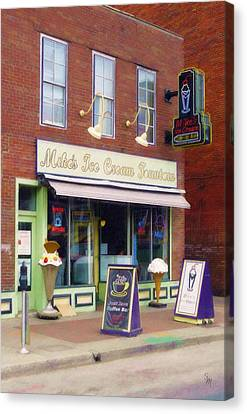 Canvas Print featuring the painting Mike's Ice Cream Fountain by Sandy MacGowan