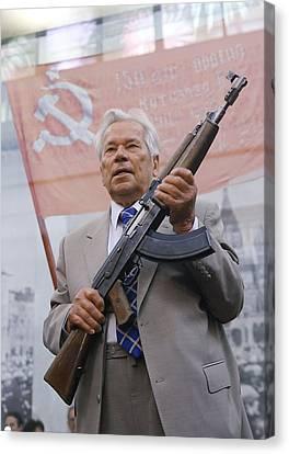 Ak-47 Canvas Print - Mikhail Kalashnikov, Russian Gun Designer by Ria Novosti