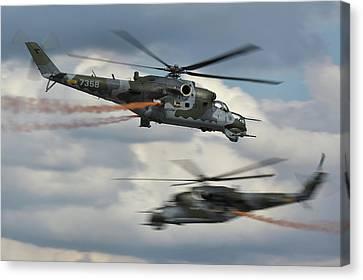Canvas Print featuring the photograph Mil Mi-24v Hind E by Tim Beach