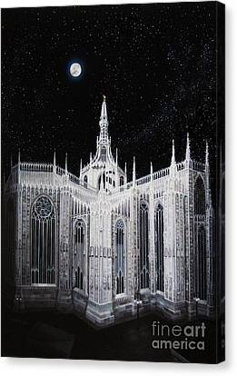 Silver Moonlight Canvas Print - Milan Cathedral by Tobias De Haan
