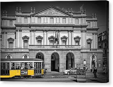 Milan Teatro Alla Scala And Tram Canvas Print by Melanie Viola