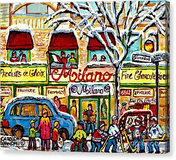 Milano Grocery Little Italy Paintings Dante Street Hockey Art Montreal Winter Scene Carole Spandau   Canvas Print by Carole Spandau