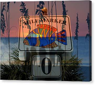Canvas Print featuring the photograph Mile Marker 0 Sunset by David Lee Thompson