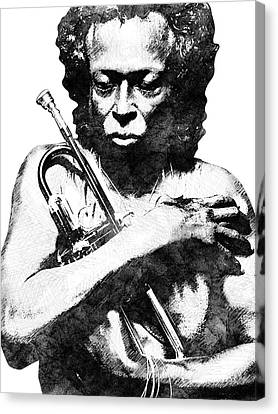 Miles Davis Bw  Canvas Print by Mihaela Pater