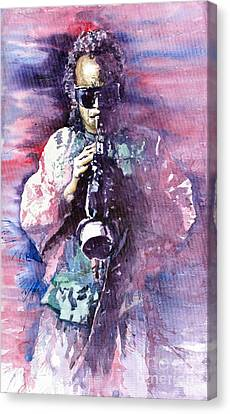 Miles Davis Meditation 2 Canvas Print by Yuriy  Shevchuk