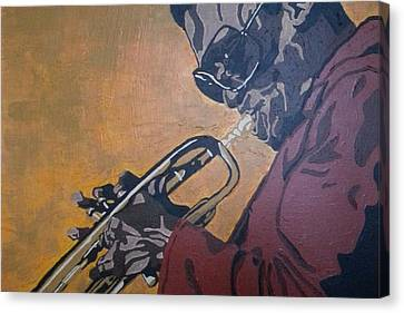 Canvas Print featuring the painting Miles Davis by Rachel Natalie Rawlins