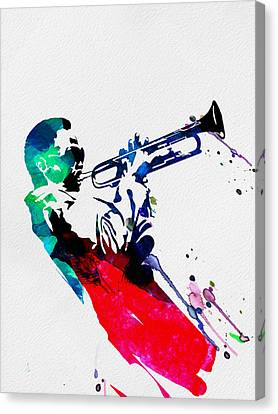 Miles Watercolor Canvas Print by Naxart Studio