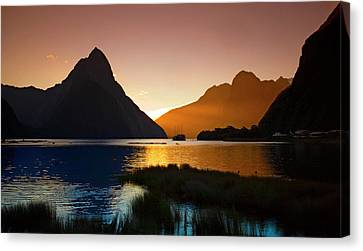 Canvas Print featuring the photograph Milford And Mitre Peak At Sunset by Odille Esmonde-Morgan