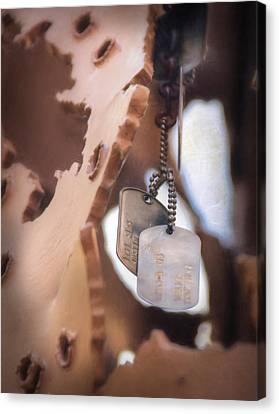 Chained Canvas Print - Military Dog Tags by Lori Deiter