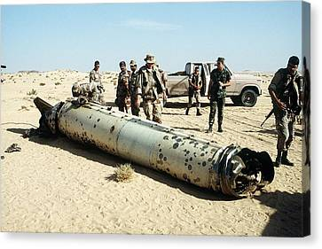 Military Personnel Examine A Scud Canvas Print