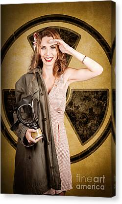 Military Pin-up Woman. Atomic Female Bombshell Canvas Print by Jorgo Photography - Wall Art Gallery