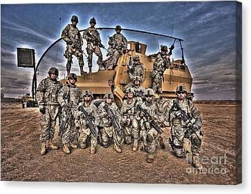 Military Police Pose For This Hdr Image Canvas Print by Terry Moore