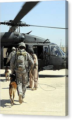 Military Working Dog Handlers Board Canvas Print by Stocktrek Images