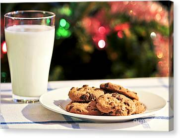 Milk And Cookies For Santa Canvas Print by Elena Elisseeva