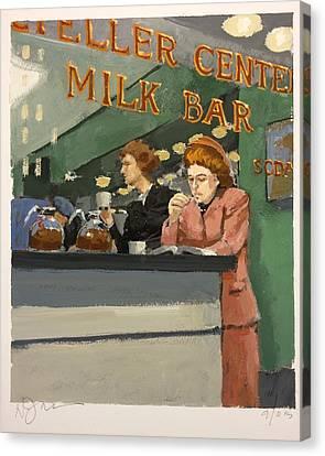 Working Women Canvas Print - Milk Bar by H James Hoff