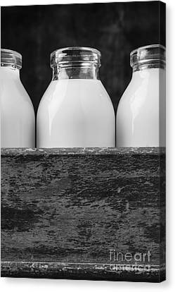 Milk Bottles 3 Black And White Canvas Print by Edward Fielding