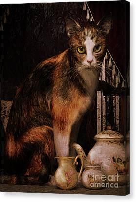 Canvas Print featuring the digital art Milk No Sugar Calico Cat by Shanina Conway