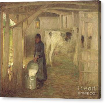 Milking Time  Early Morn Canvas Print by William Edward Stott