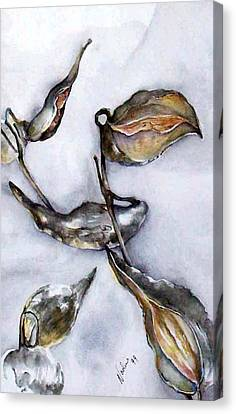 Canvas Print featuring the painting Milkweed In Winter by Nadine Dennis