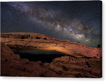 Canvas Print featuring the photograph Milky Way Above Mesa Arch. by Johnny Adolphson