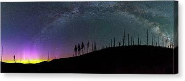 Canvas Print featuring the photograph Milky Way And Aurora Borealis by Cat Connor