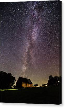 Milky Way And Barn Canvas Print