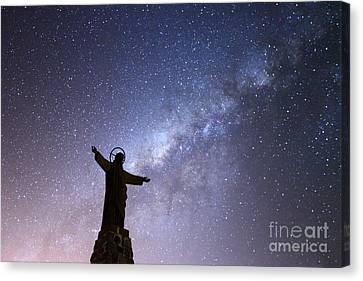 Milky Way And Jesus Christ Statue Canvas Print