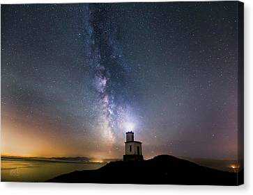 San Juan Islands Canvas Print - Milky Way Cattle Point Lighthouse by Thomas Ashcraft