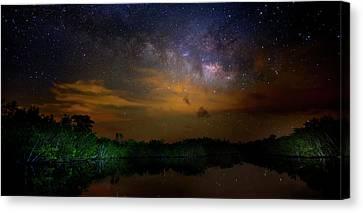 Milky Way Fire Canvas Print by Mark Andrew Thomas
