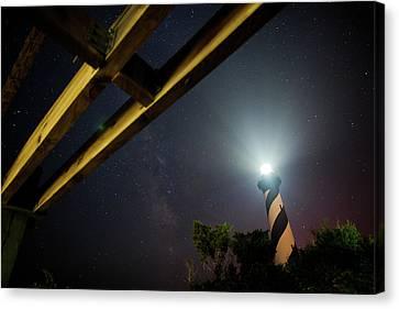 Milky Way Inside Hatteras Light Pavillon Canvas Print by Daniel Lowe