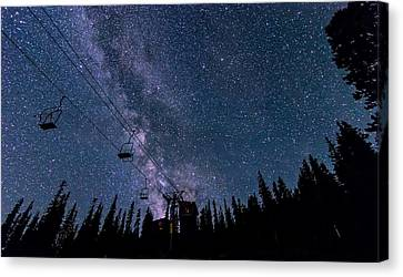 Creek Canvas Print - Milky Way Over Chairlift by Michael J Bauer