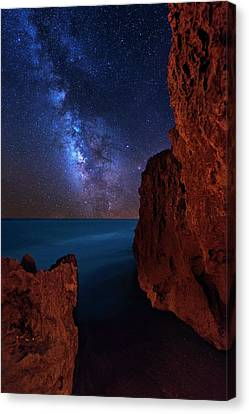 Milky Way Over Huchinson Island Beach Florida Canvas Print by Justin Kelefas
