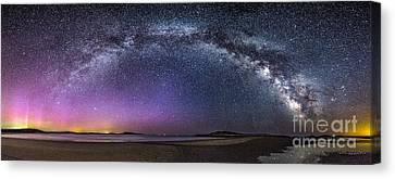 Milky Way Panorama With Northern Lights At Popham Beach Canvas Print