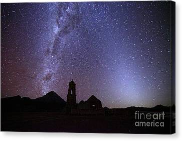 Luz Canvas Print - Milky Way Zodiacal Light And Ruined Church by James Brunker