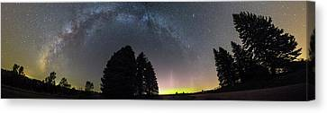 Canvas Print featuring the photograph Milkyway And Northernlights Pano by Aaron J Groen