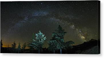 Andromeda Galaxy Canvas Print - Milkyway At The Mountains II by Guido Montanes Castillo